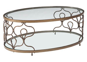 Fraloni Bronze Finish Oval Cocktail Table