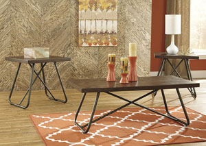 Endota Medium Brown Occasional Table Set (Cocktail & 2 Ends),Signature Design by Ashley