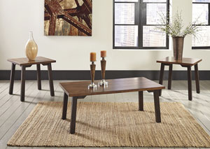 Latoon Two-tone Brown Occasional Table Set (Cocktail & 2 Ends)