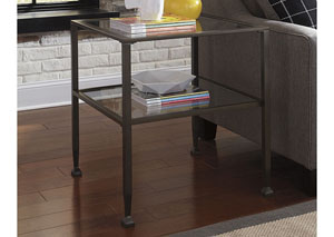 Tivion Black Rectangular End Table