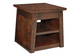 Harpan Reddish Brown Rectangular End Table