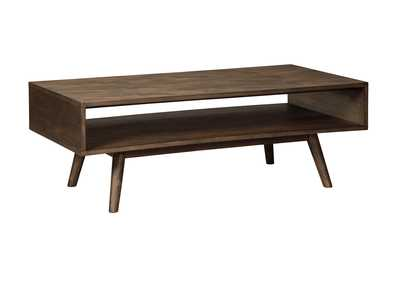 Kisper Dark Brown Rectangular Cocktail Table,Signature Design by Ashley