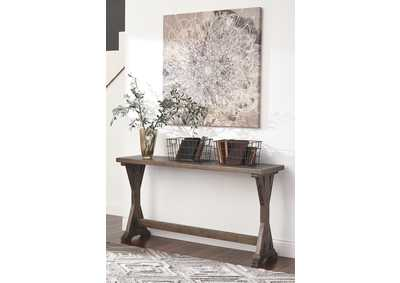 Valkner Grayish Brown Sofa Table