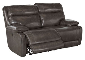 Palladum Metal Reclining Power Loveseat