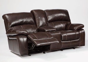 Damacio Dark Brown Glider Reclining Loveseat w/ Console