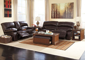Damacio Dark Brown Reclining Power Sofa & Loveseat