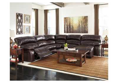 Damacio Dark Brown Reclining Right Facing Chaise End Power Sectional,Signature Design by Ashley