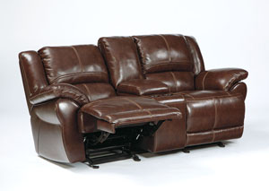 Lenoris Coffee Glider Reclining Loveseat w/Console