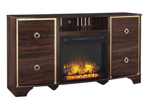 Lenmara Reddish Brown LG TV Stand w/Fireplace