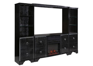 Amrothi Black Large Entertainment Center w/Fireplace Insert