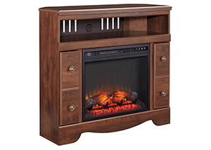 Brittberg Reddish Brown Corner TV Stand w/ Fireplace Insert,Signature Design by Ashley