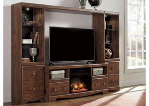 Brittberg Reddish Brown Entertainment Center w/ Fireplace Insert,Signature Design by Ashley