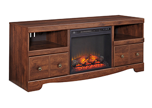 Brittberg Reddish Brown Large TV Stand w/Fireplace Insert,Signature Design by Ashley