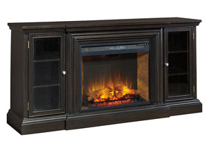 Carlyle Almost Black Extra Large TV Stand w/Fireplace Option,Signature Design by Ashley