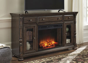 Brosana Grayish Brown XL TV Stand w/Infrared Fireplace Insert
