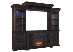 Willenburg Dark Brown Entertainment Center w/Fireplace and Small Integrated Audio