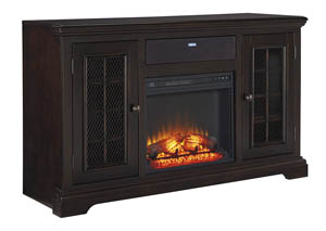 Willenburg Dark Brown Large TV Stand w/Fireplace and Small Integrated Audio