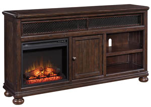 Gerlane Dark Brown Extra Large TV Stand w/Fireplace