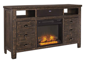 Trudell Dark Brown Extra Large TV Stand w/Fireplace & Small Integrated Audio