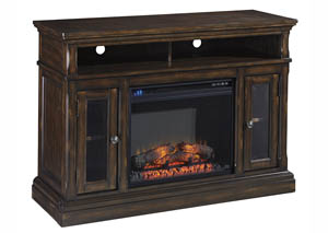 Roddinton Dark Brown Medium TV Stand w/Fireplace Option