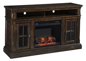 Roddinton Dark Brown Large TV Stand w/Fireplace Option