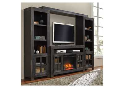 Gavelston Black Entertainment Center w/LED Fireplace Insert