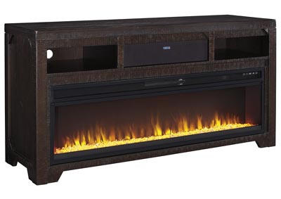 Rogness Dark Brown Large TV Stand w/Fireplace and Small Integrated Audio