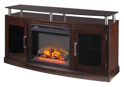 Chanceen Dark Brown Medium TV Stand w/Fireplace