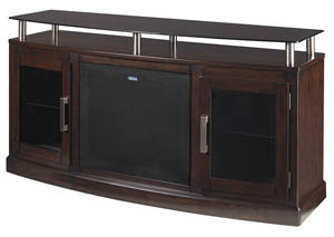 Chanceen Dark Brown Medium TV Stand w/Large Integrated Audio