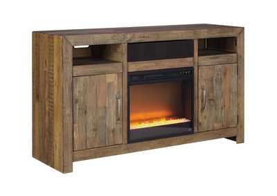 Sommerford Brown Large TV Stand w/Fireplace and Small Integrated Audio