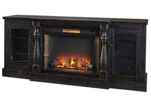 Mallacar Black Extra Large TV Stand w/Fireplace