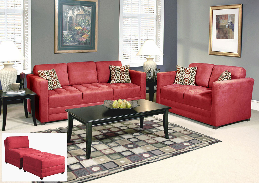 Sienna Redrock Skinny Minnie Godiva Stationary Sofa and Loveseat,Atlantic Bedding & Furniture