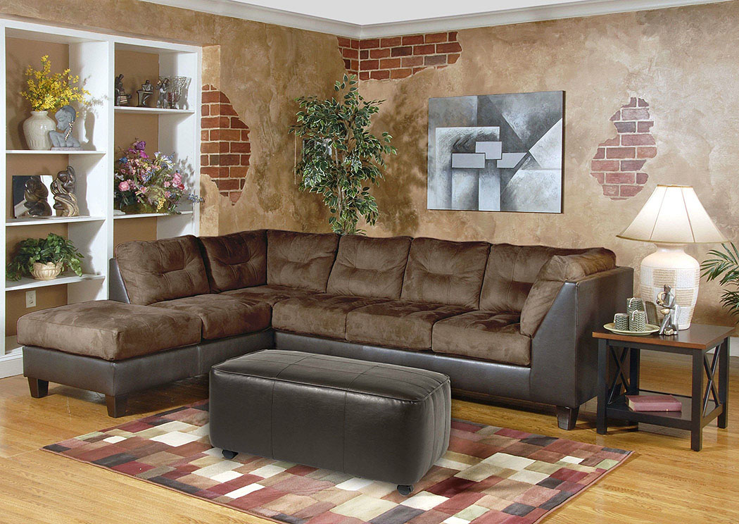 San Marino Chocolate Padded Walnut Sectional,Tonoco