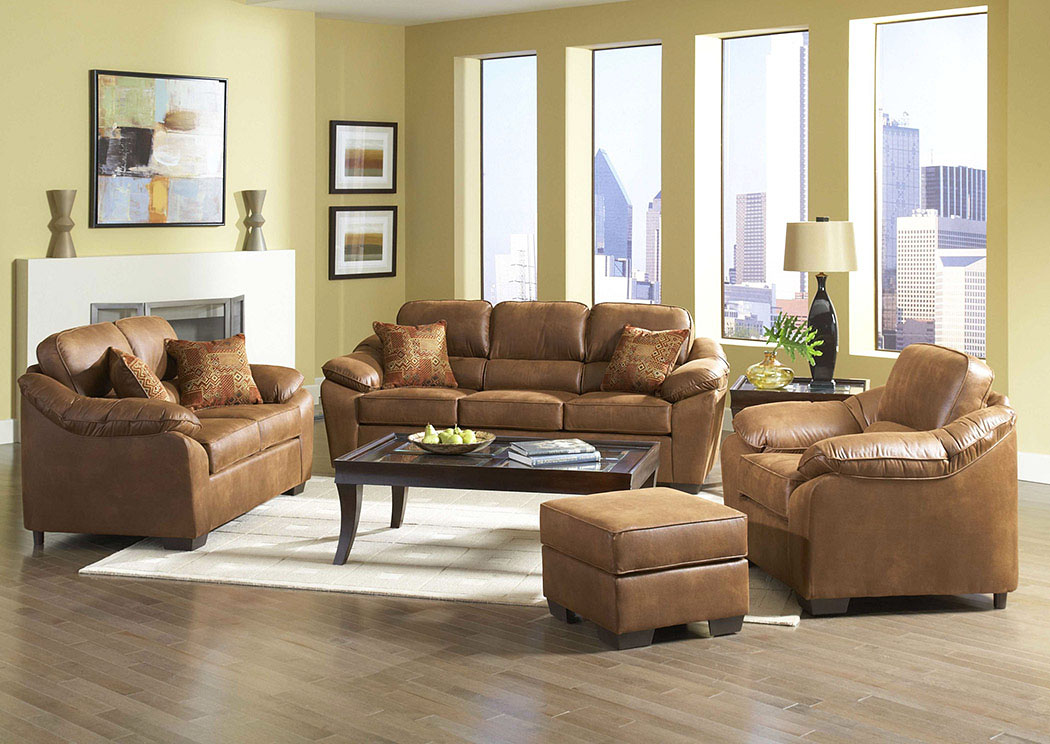 Laramie Tanner Verve Spice Stationary Microfiber Loveseat,Atlantic Bedding & Furniture