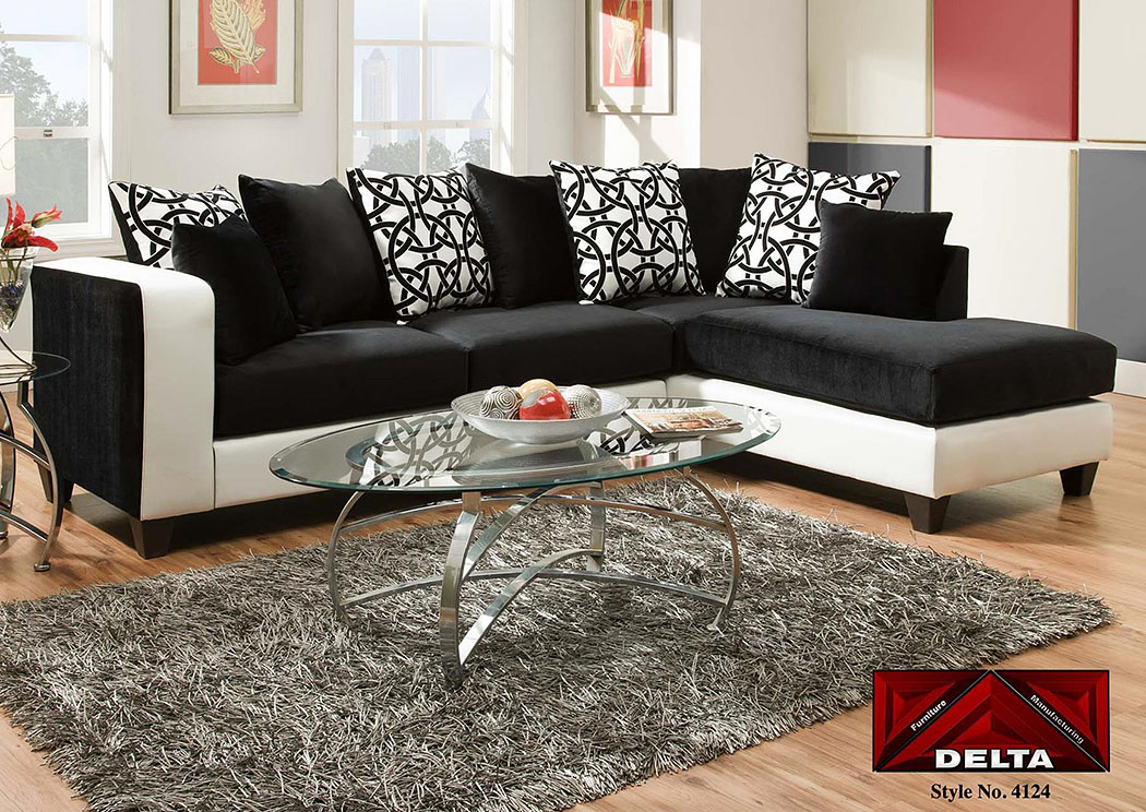 Atlantic bedding and furniture implosion black sectional w for Black sectional with chaise
