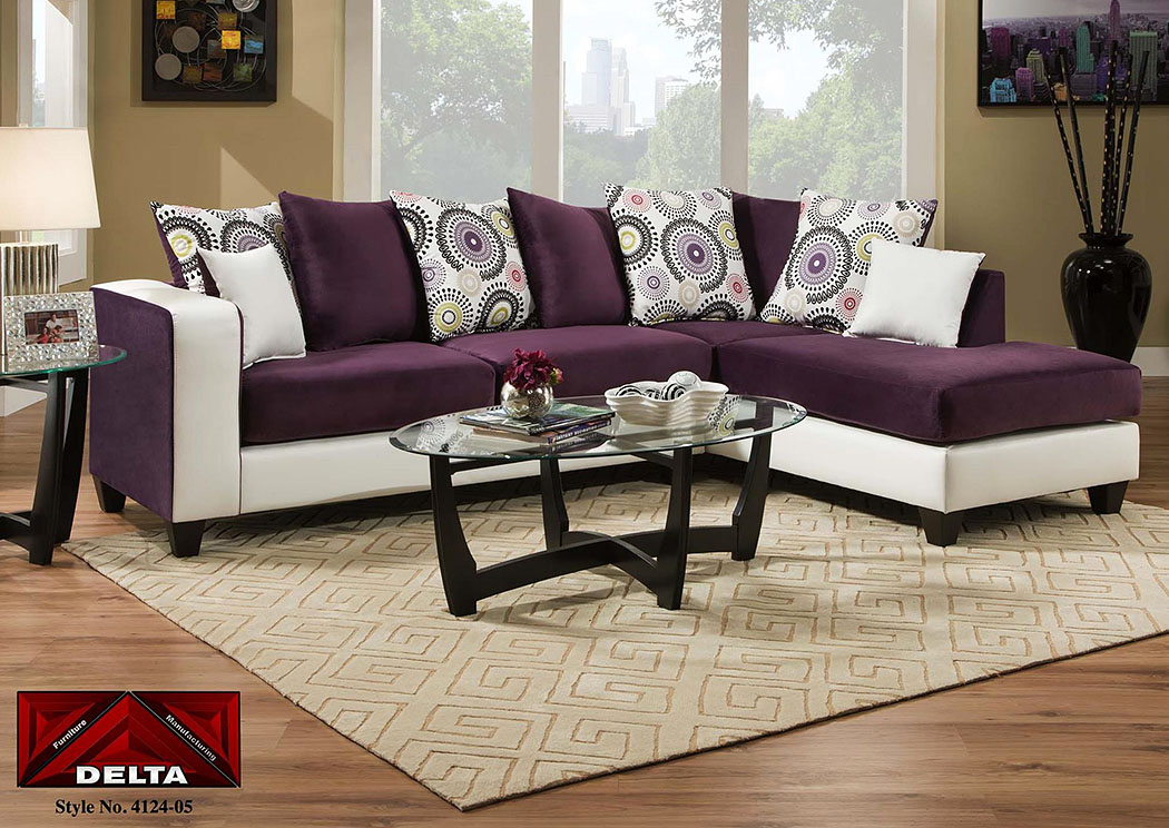 Implosion Purple/Demsey White Sectional w/ Right Facing Chaise ,Tonoco