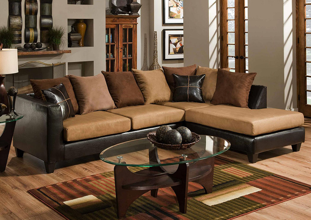 Jefferson Chocolate/Sierra Camel Sectional w/ Right Facing Chaise ,Atlantic Bedding & Furniture