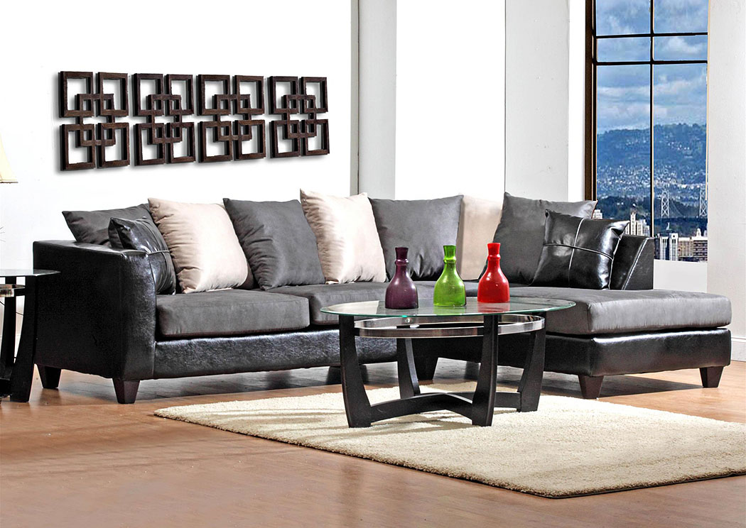 Jefferson Black/Sierra Graphite Sectional w/ Right Facing Chaise ,Atlantic Bedding & Furniture