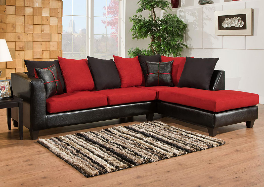 Jefferson Black/Sierra Cardinal Sectional w/ Right Facing Chaise ,Atlantic Bedding & Furniture