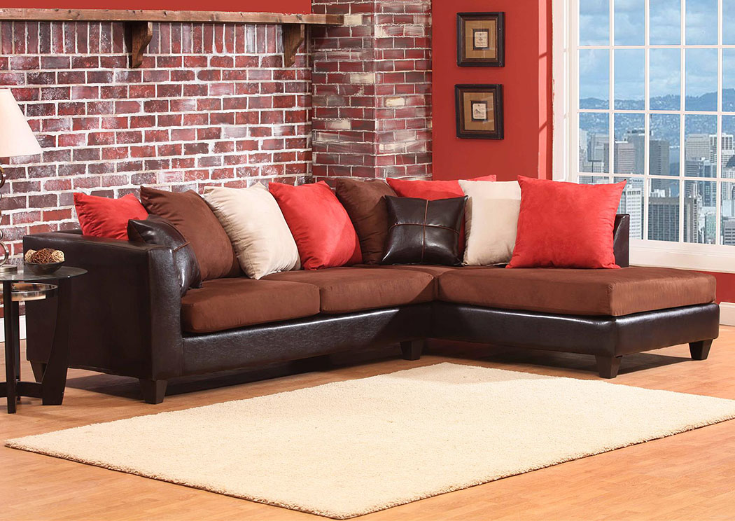 Jefferson Chocolate/Sierra Chocolate Sectional w/ Right Facing Chaise ,Atlantic Bedding & Furniture