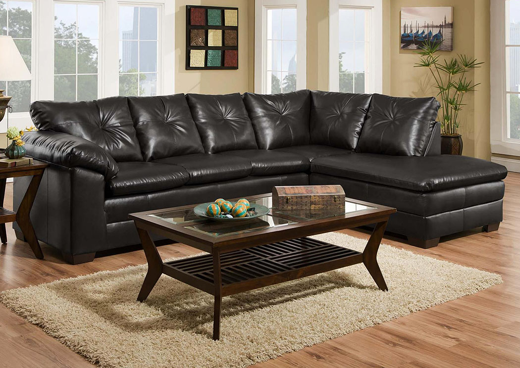 Atlantic bedding and furniture cowboy black sectional w for Black sectional with chaise