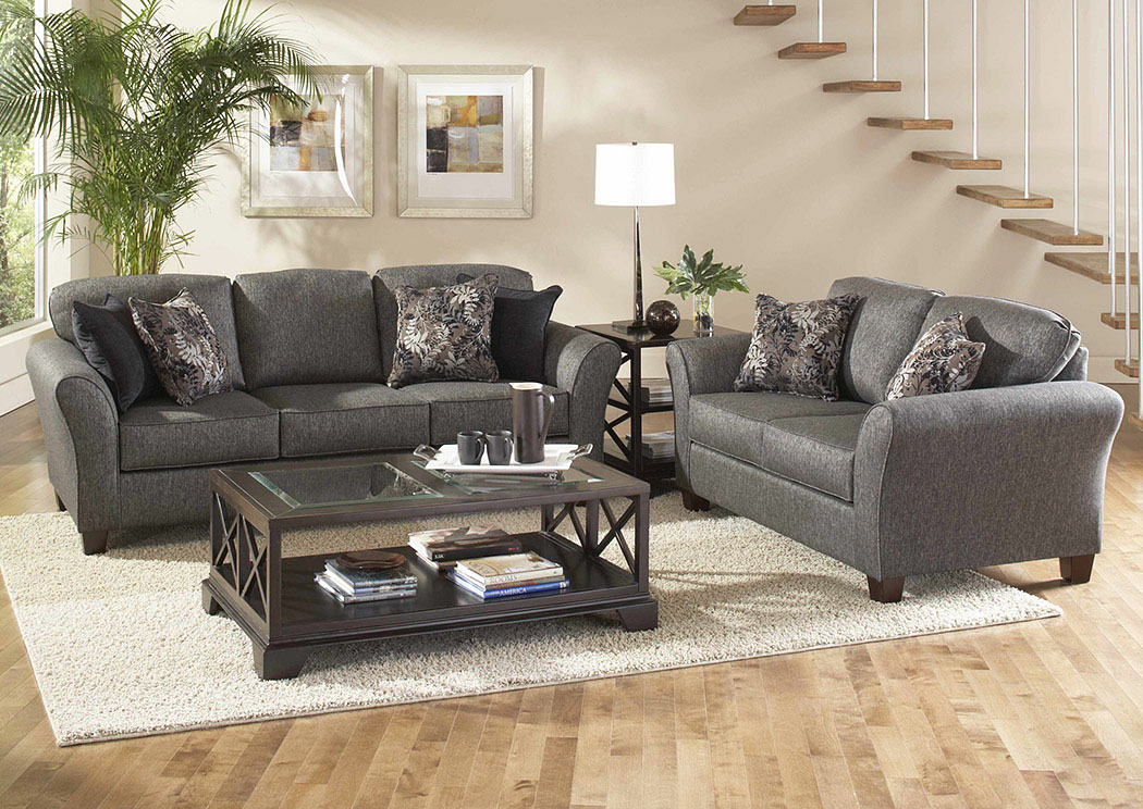 Stoked Ashes Candella Pewter Onyx Stationary Sofa and Loveseat,Atlantic Bedding & Furniture