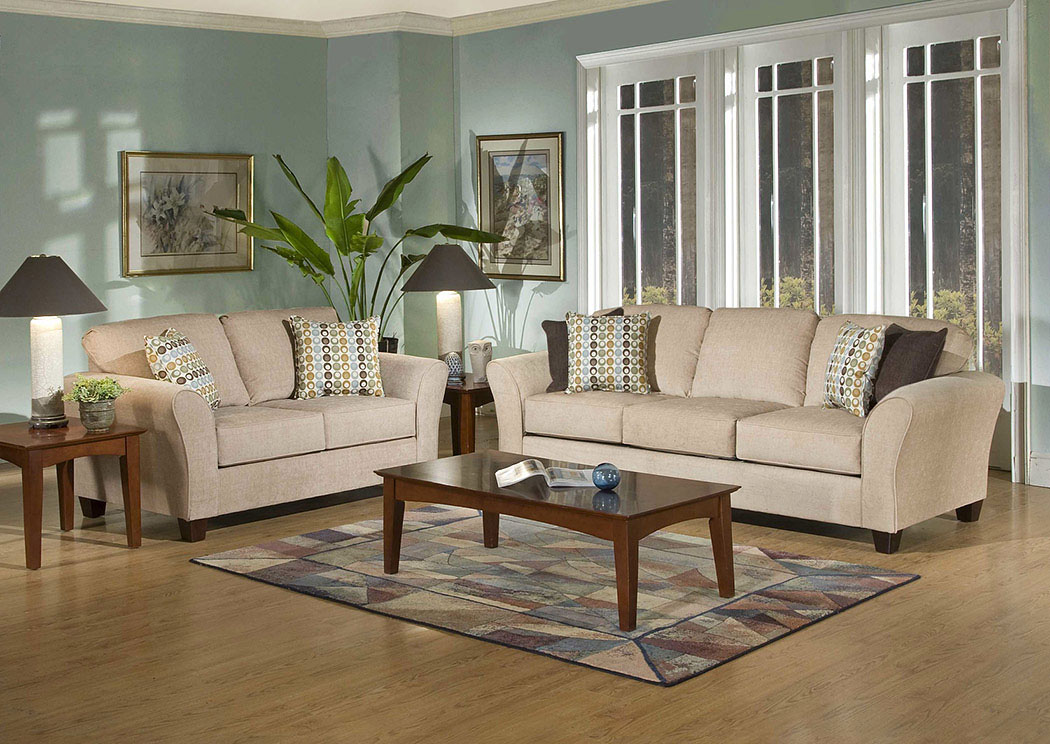 Viewpoint Tan Flair Spa Coffee Stationary Sofa and Loveseat,Atlantic Bedding & Furniture