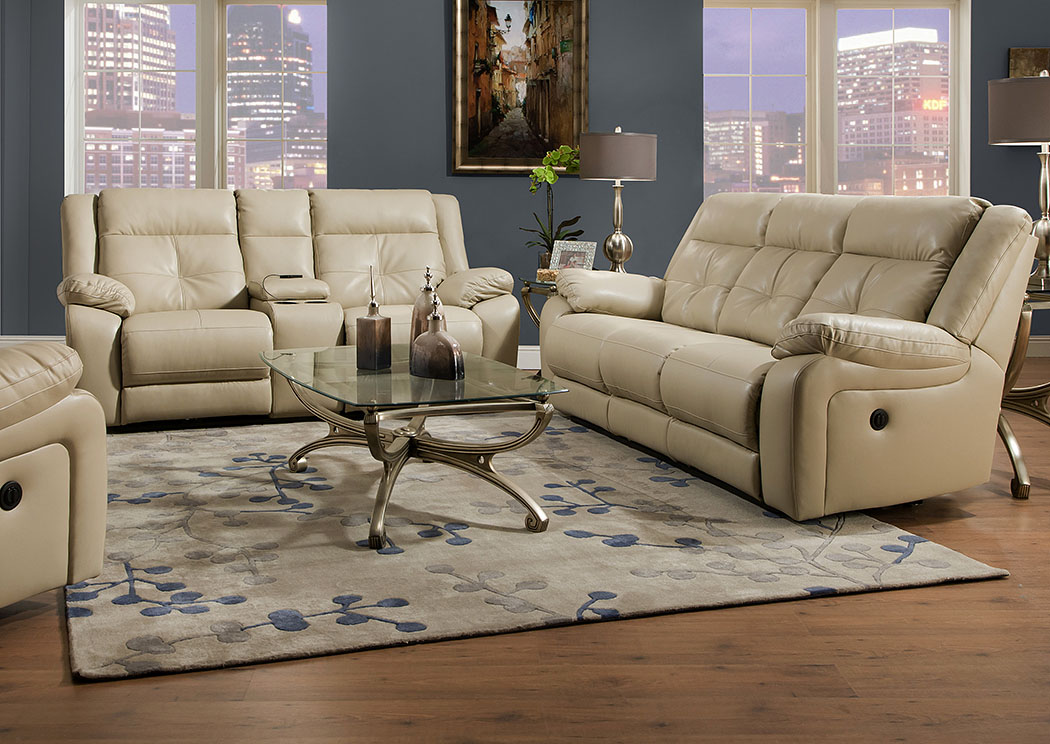 Miracle Pearl Bonded Leather Double Motion Sofa,Atlantic Bedding & Furniture