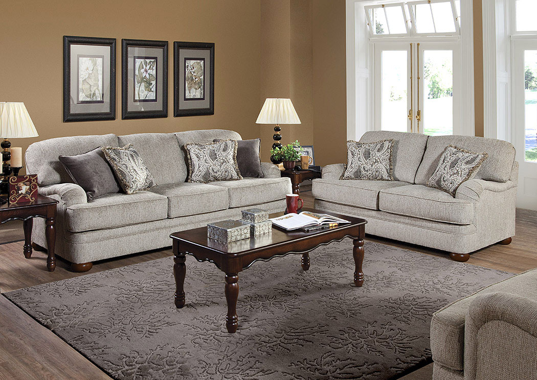 Lifeline Beige Penmere Graphite Elizabeth Ash Stationary Sofa and Loveseat,Tonoco