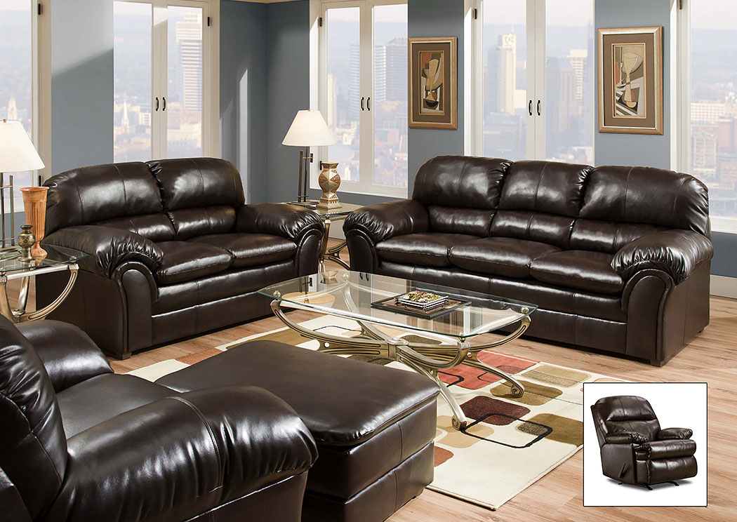 Riverside Bonded Leather Vintage Sofa,Atlantic Bedding & Furniture