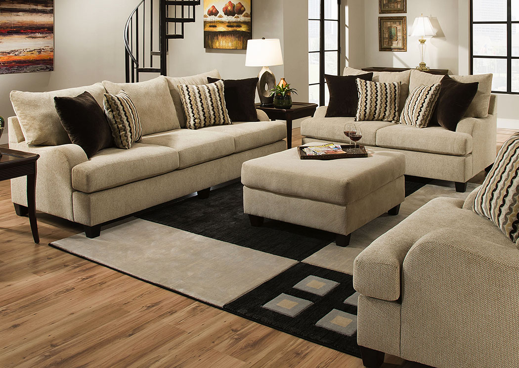 Atlantic Bedding And Furniture Richmond Trinidad Taupe Venice Mink Chitchat Taupe Loveseat