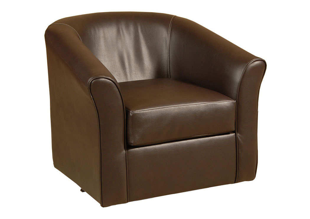 San Marino Chocolate Swivel Barrel Chair,Tonoco