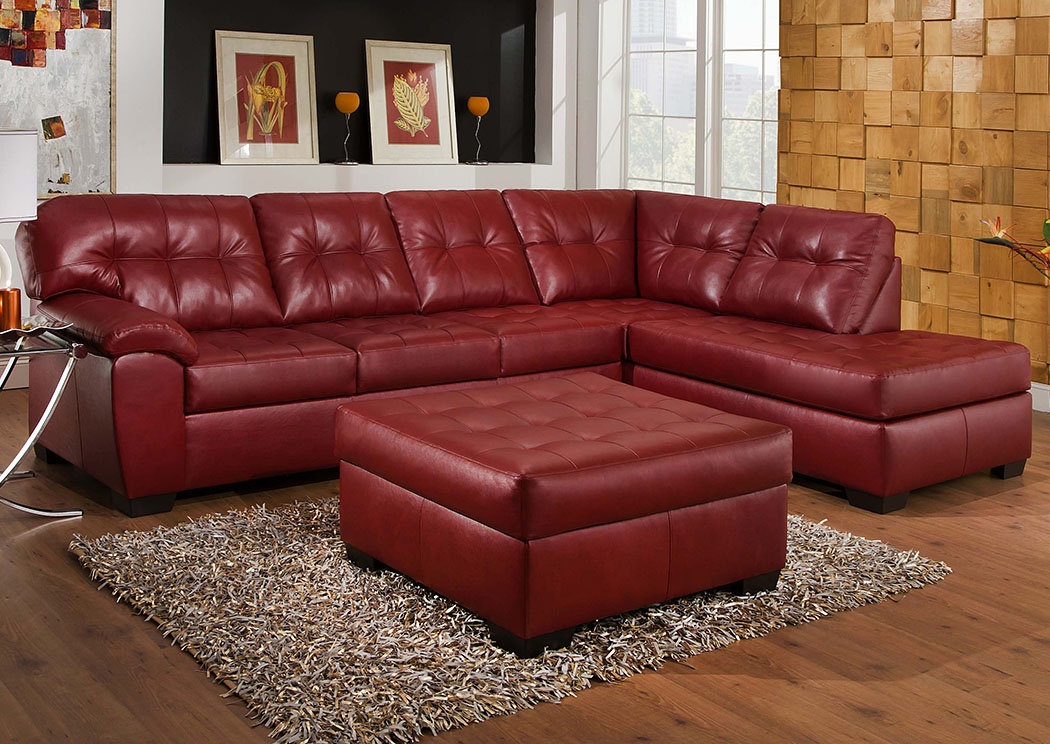 Atlantic Bedding And Furniture Fayetteville Soho Bonded Leather Cardinal Sectional