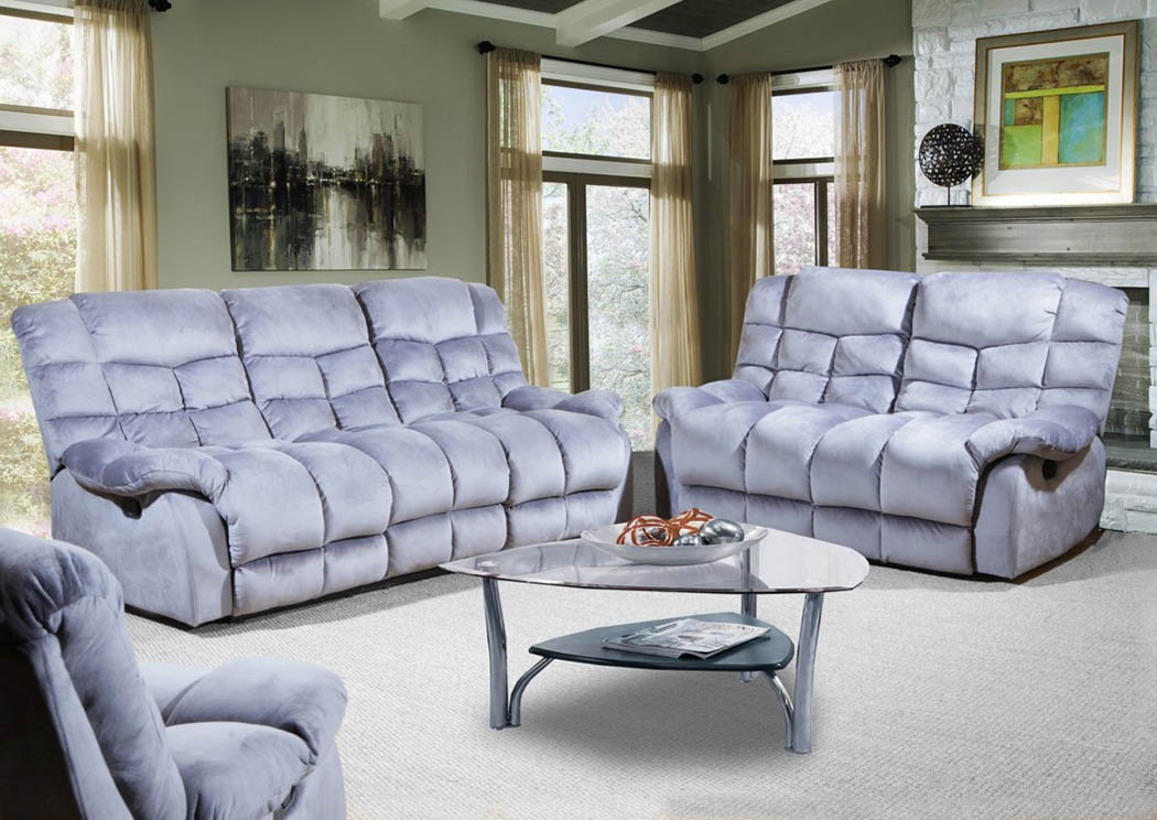 Maddox Gray Lay Flat Motion Sofa, Loveseat & Recliner Set,Atlantic Bedding & Furniture